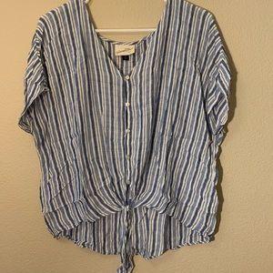 Striped Button Up T-Shirt